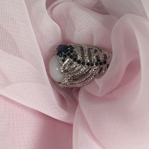 Jewelry - SILVER RING WITH TINY BLUE STONES